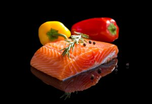 wild sockeye salmon fillet, yellow and red bell pepper