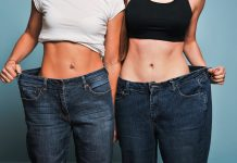 women wearing oversized jeans, weight loss success