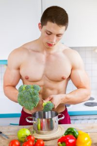 fit vegan guy preparing his meal