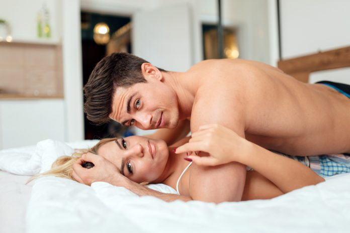 man who takes Progentra getting intimate with wife in bed