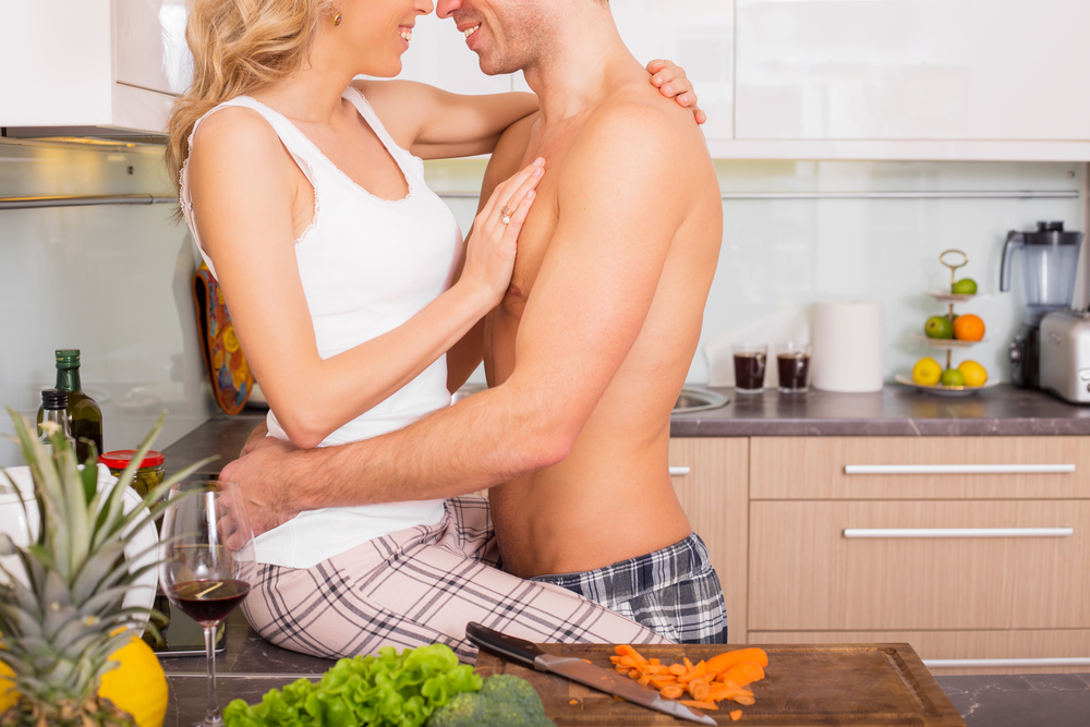 Progentra user getting intimate with wife in the kitchen