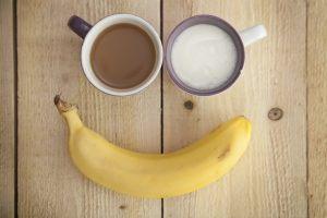 coffee, banana, and milk