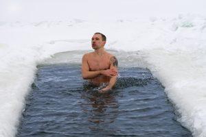 winter ice bath in an ice hole