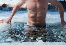 taking a bath in an ice hole