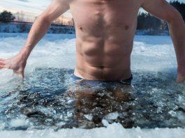 taking a bath in an ice hole
