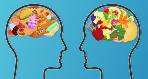 junk food and healthy food for brains