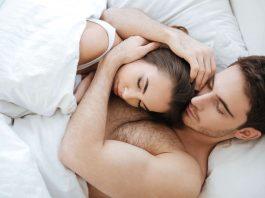 couple sleeping and cuddling
