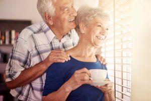 senior couple enjoying mornings